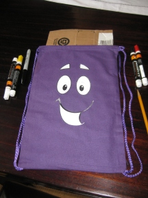 Step 1: Place template on bag and trace with pencil